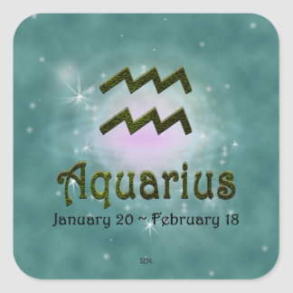 U Pick Color/ Aquarius Zodiac Sign Square Sticker