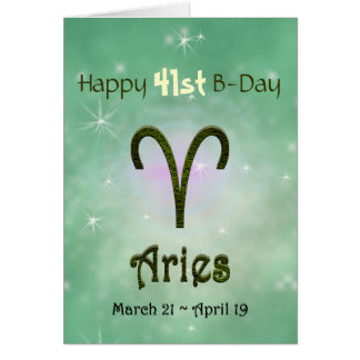 U Pick Color/ Aries Happy Birthday Age Greeting Card
