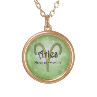 U Pick Color/ Aries Zodiac Sign Round Pendant Necklace