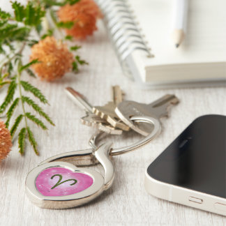 U Pick Color/ Aries Zodiac Sign Silver-Colored Twisted Heart Key Ring