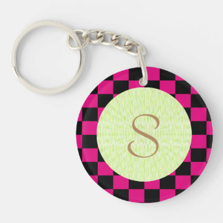 U-pick Color Black Checkered Tiles Double-Sided Round Acrylic Key Ring