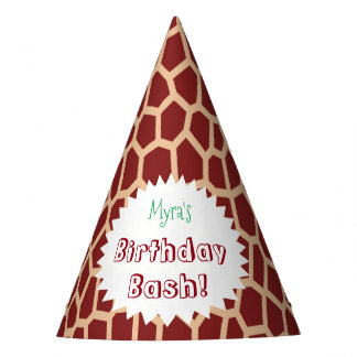 U pick Color/ Brown Giraffe Print in Mosaic Tile Party Hat
