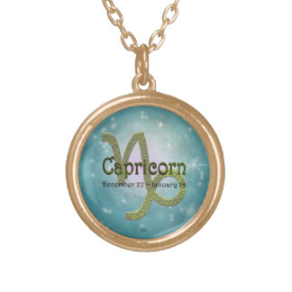 U Pick Color/ Capricorn Zodiac Sign Round Pendant Necklace