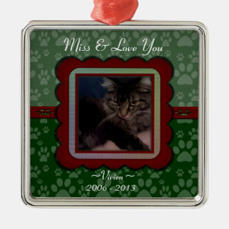 U Pick Color/Christmas Pet Memorial Personalized Silver-Colored Square Decoration