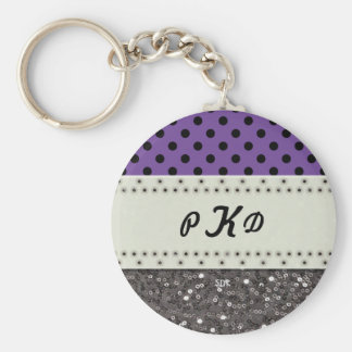 U-pick Color/ Classic Black Polka Dots & Sequins Basic Round Button Key Ring