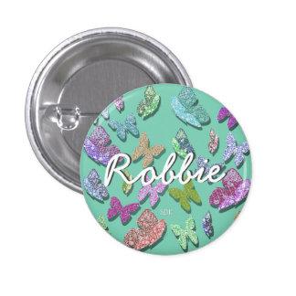U pick Color/ Fluttering Textured Butterflies 3 Cm Round Badge