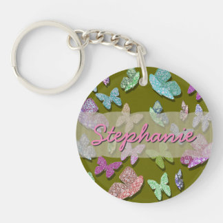 U pick Color/ Fluttering Textured Butterflies Double-Sided Round Acrylic Key Ring