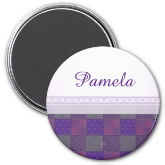 U Pick Color/ Garden Lattice Shimmery Velvet Quilt 7.5 Cm Round Magnet