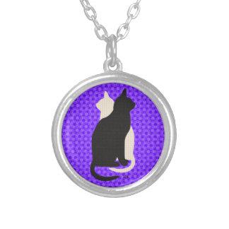 U Pick Color/Good Luck Black & White Kitty Catz Round Pendant Necklace