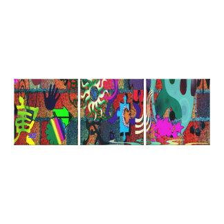U-pick Color/ Graffiti Art on Brick Wall Stretched Canvas Prints