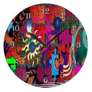 U-pick Color/ Graffiti Art on Brick Wall Large Clock