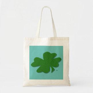 U-pick Color/ Green Good Luck Irish 4 Leaf Clover Budget Tote Bag