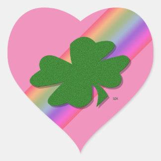 U-pick Color/ Green Good Luck Irish 4 Leaf Clover Heart Sticker