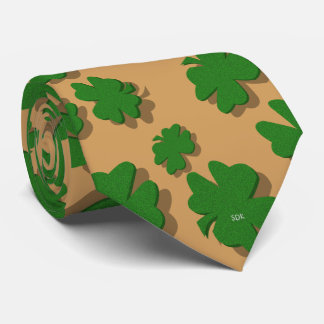 U-pick Color/ Green Good Luck Irish 4 Leaf Clover Tie