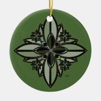 U-pick Color/ Iron Celtic Good Fortune Flower II Round Ceramic Decoration