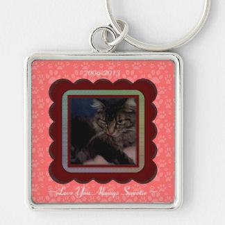 U Pick Color/Personalized Pet Memorial Silver-Colored Square Key Ring