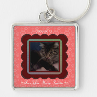 U Pick Color/Personalized Pet Memorial Silver-Colored Square Key Ring