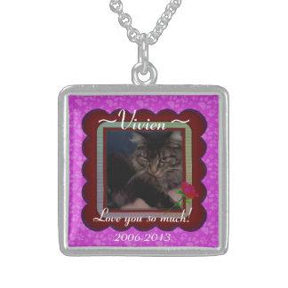 U Pick Color/Personalized Pet Memorial Square Pendant Necklace