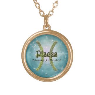 U Pick Color/ Pisces Zodiac Sign Round Pendant Necklace