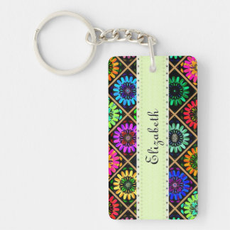 U Pick Color/ Radiant Scrapbook Flowers on Display Double-Sided Rectangular Acrylic Key Ring