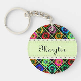 U Pick Color/ Radiant Scrapbook Flowers on Display Double-Sided Round Acrylic Key Ring