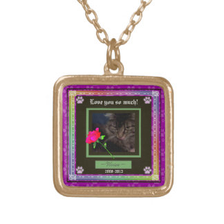 U Pick Color/Rainbow Personalized Pet Memorial Gold Plated Necklace