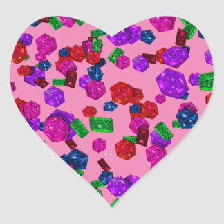 U pick Color/ Royal Birthstone Jewels & Gems Heart Sticker