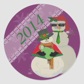U Pick Color/ Snowman 1st Baby's First Christmas Round Sticker