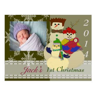U Pick Color/ Snowman 2nd Baby's First Christmas Postcard