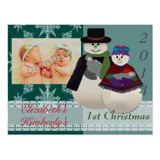 U Pick Color/ Snowman NewBorn Twin's 1st Christmas Post Card
