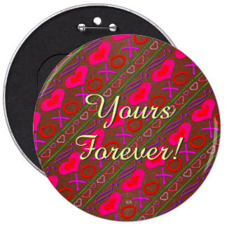 U Pick Color/ Valentine's Day Hugs and Kisses 6 Cm Round Badge