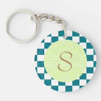 U-pick Color White Checkered Tiles Double-Sided Round Acrylic Key Ring