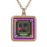 U Pick Colour/Rainbow Personalised Pet Memorial Square Pendant Necklace