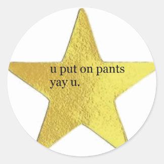 U put on pants sticker set