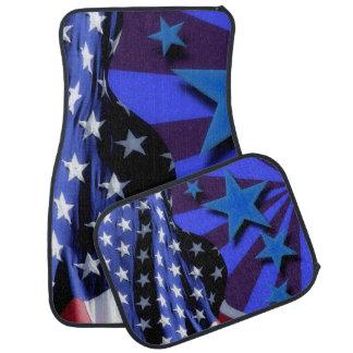 U.S.A. America Flag and Blue Stars Car Mat
