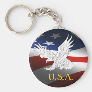 U.S.A.-  FLAG BASIC ROUND BUTTON KEY RING