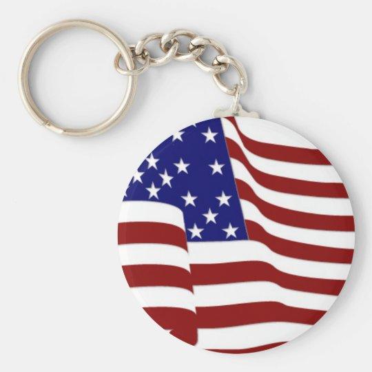 U.S.A. Flag Basic Round Button Key Ring