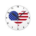 U.S.A. Flag Heart Shape Wall Clock