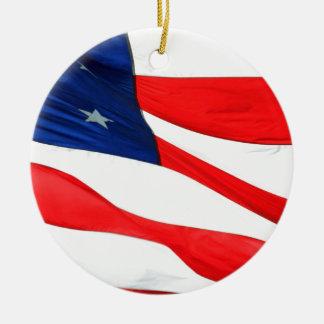 U.S.A. Flag Round Ceramic Decoration
