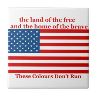 U S A FLAG the land of the free Ceramic Tiles