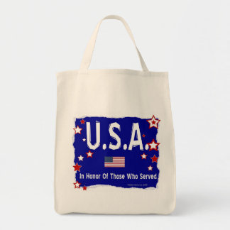 U.S.A. In Honor of Vets Grocery Tote Bag