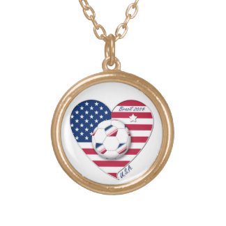 """U.S.A."" Soccer Team. Soccer of the United States Necklaces"