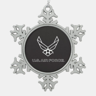 U.S. Air Force Logo - Black Snowflake Pewter Christmas Ornament