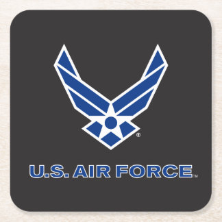 U.S. Air Force Logo - Blue Square Paper Coaster