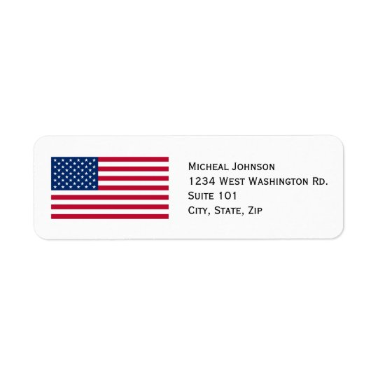 U.S. American Flag Custom Personalised Return Address Label