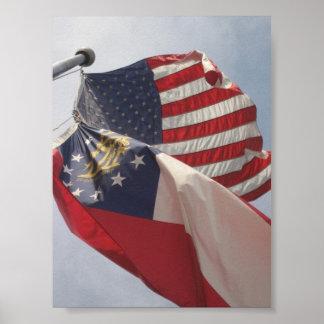 U.S. and Georgia Flags on flagpole Poster