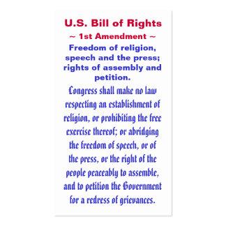 U S Bill of Rights First 1st Amendment Business Card Templates