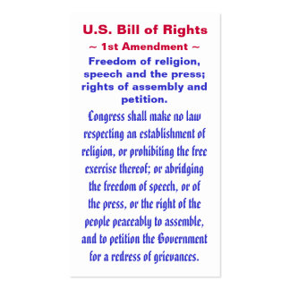 U.S. Bill of Rights, ~ First (1st) Amendment ~ Pack Of Standard Business Cards