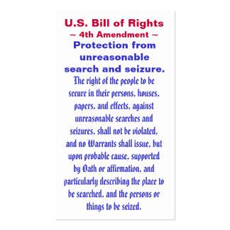U S Bill of Rights Fourth 4th Amendment Business Card Templates