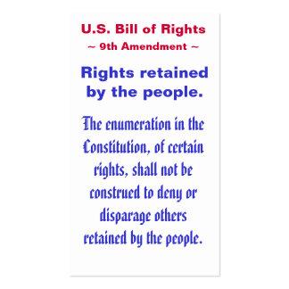 U.S. Bill of Rights, ~ Ninth (9th) Amendment ~ Business Card Templates